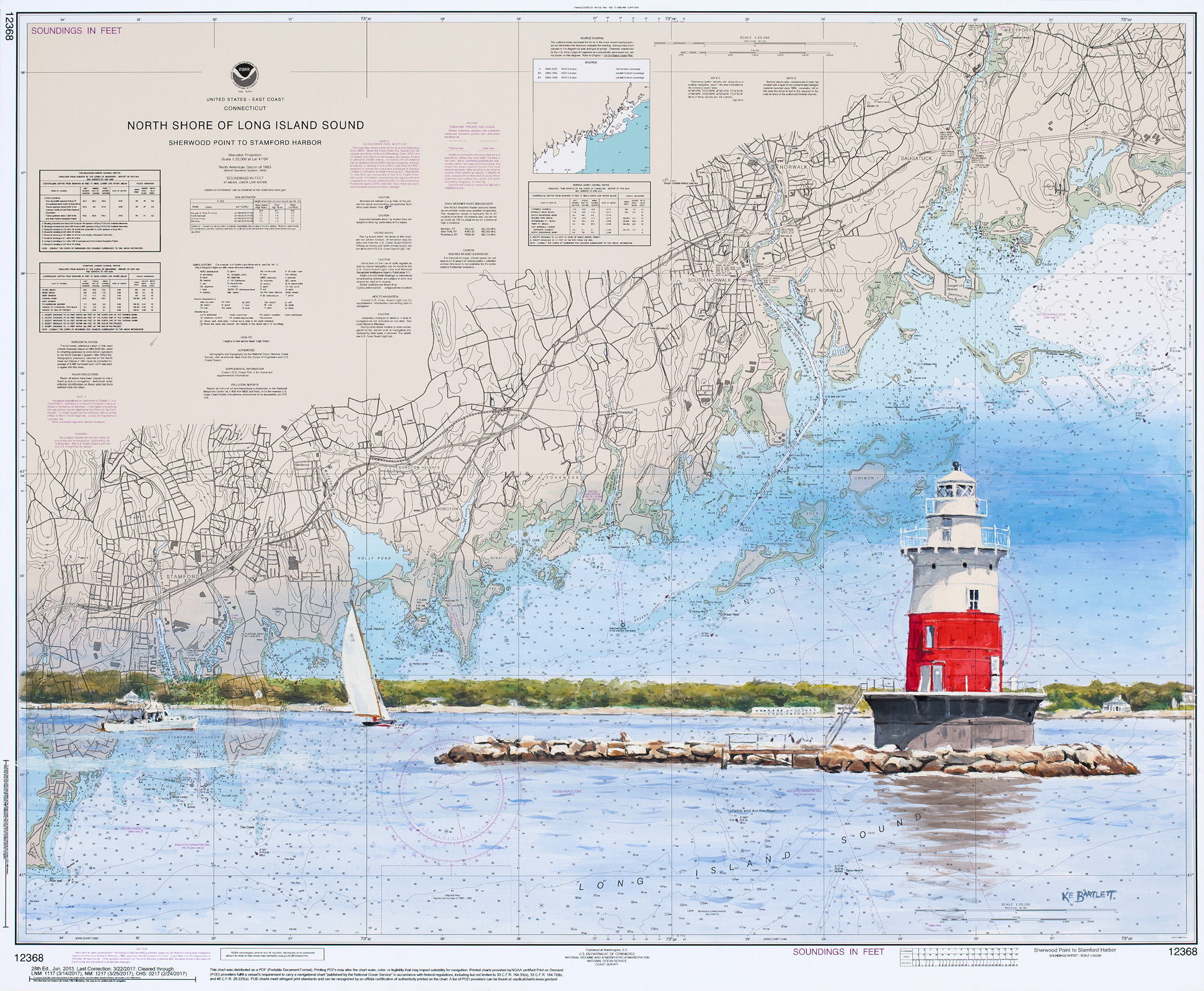 Greens Ledge Lighthouse  acrylic on nautical chart 24 x 20 inches