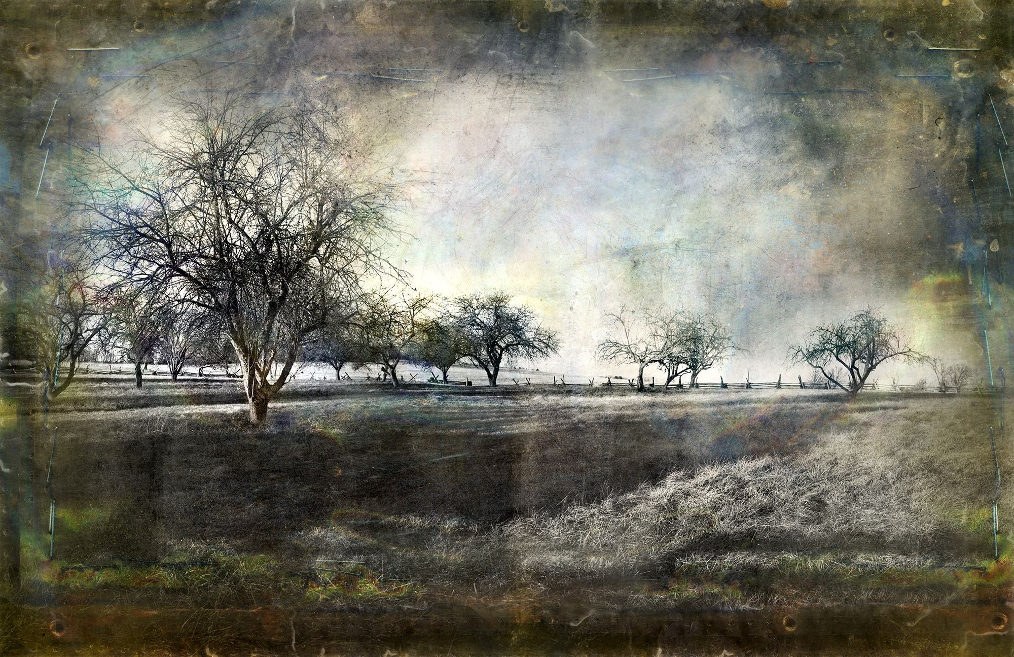 New Market Battlefield  mixed media on panel 48 x 80 inches