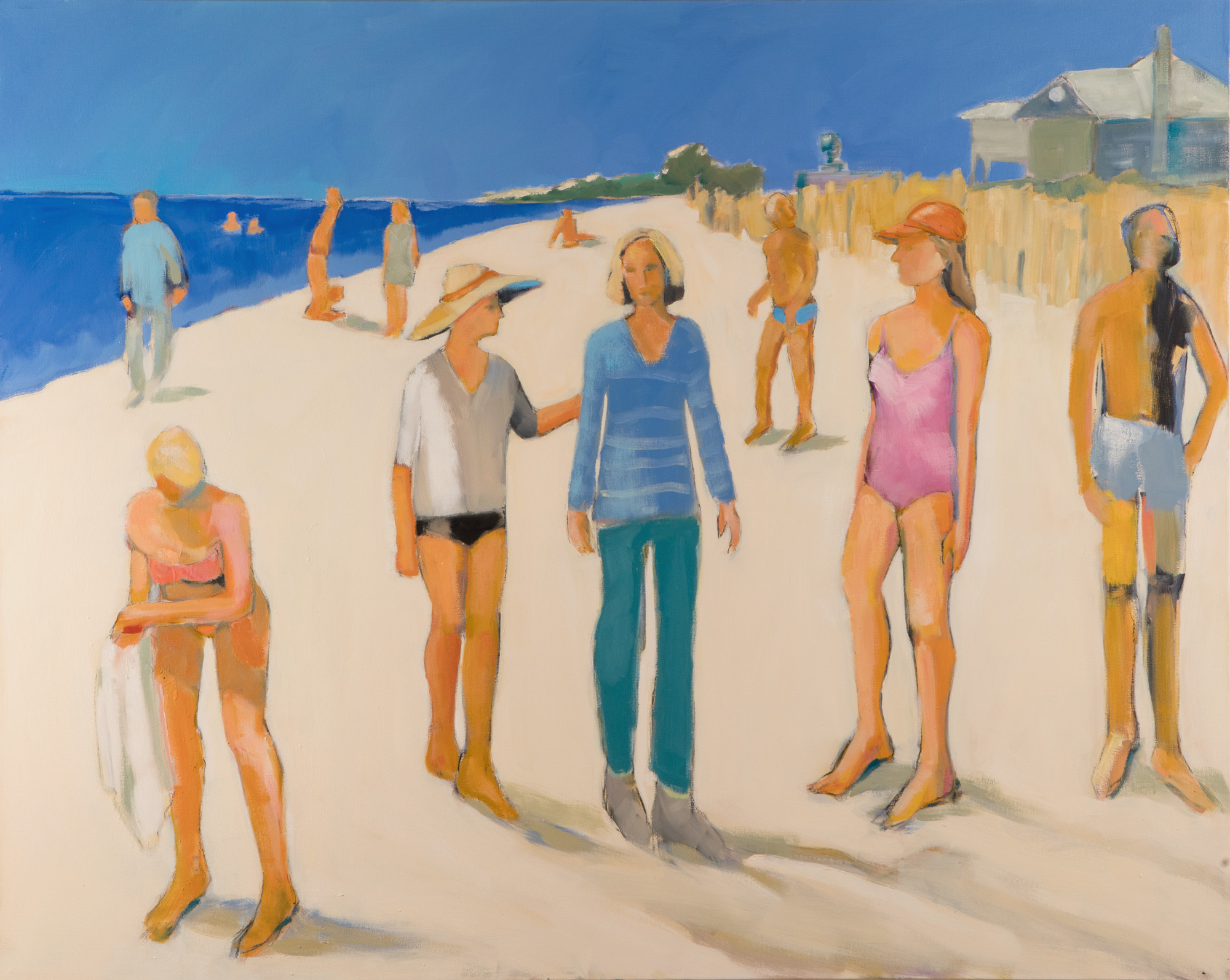 Sarah Benham -  Beach Walkers  Oil on Canvas, 48 x 60 inches