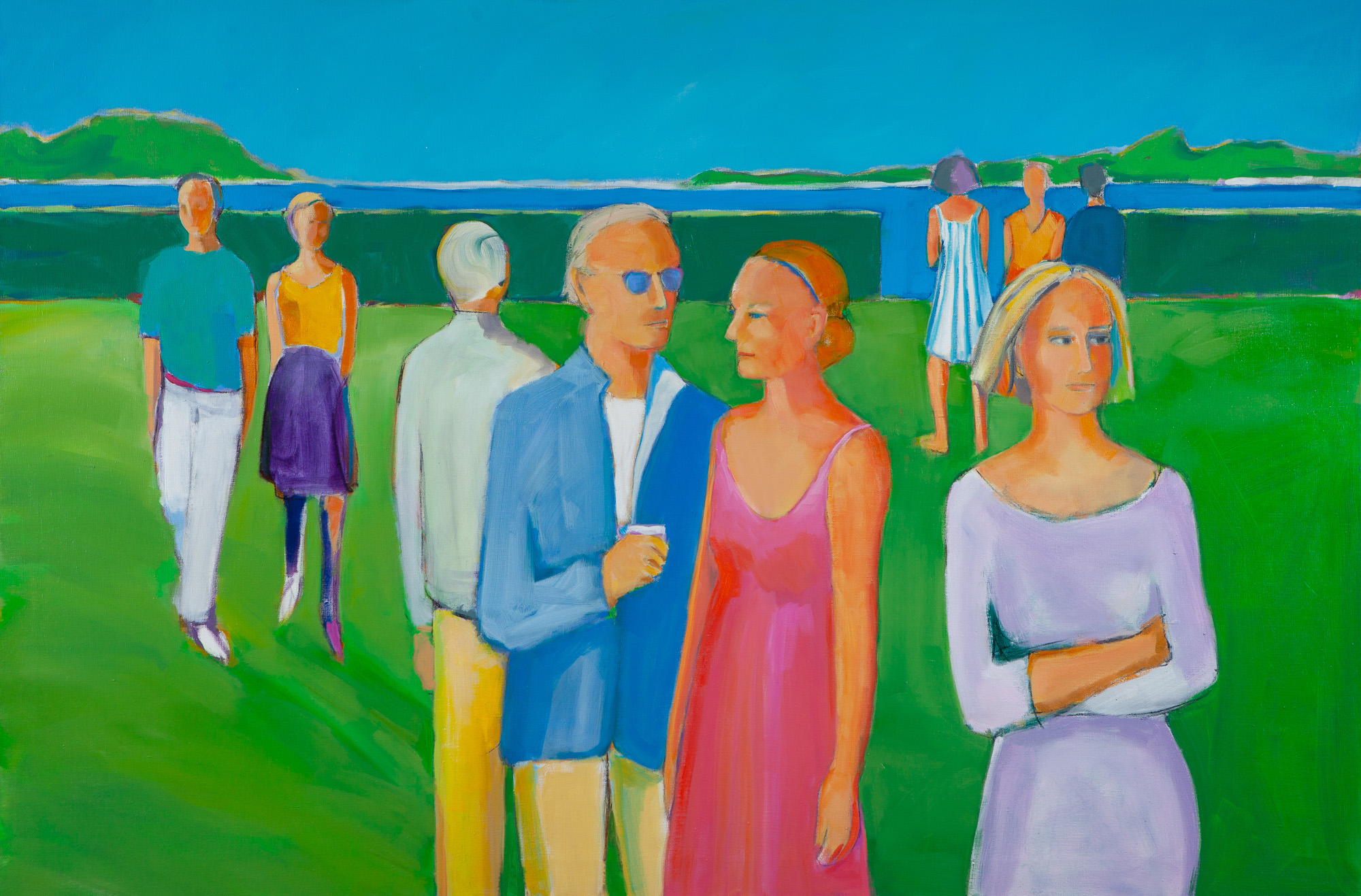Sarah Benham -  The Solstice Party  Oil on Canvas, 48 x 72 inches