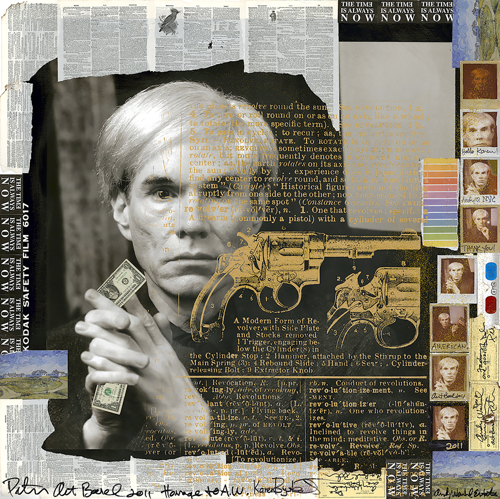 Karen Bystedt x Peter Tunney -  Andy with Golden Gun   Mixed Media, 27 x 27 inches