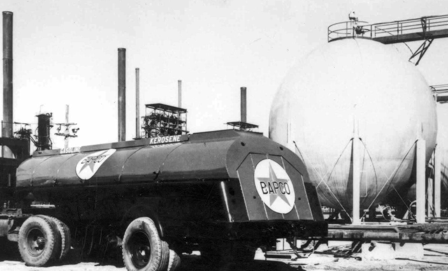 1946 (January) Bapco tank truck alongside Horton spheres.jpg