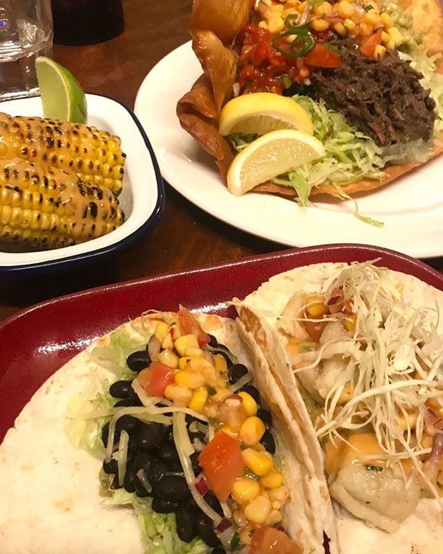 Some of our signature dishes to get you through #humpday ,  Our grilled corn with housemade chipotle, tacos and tostadas! • • •  Open tonight from 6pm!  See you tonight 🙌🏻🌮 #manlymexican  #taco #tostada