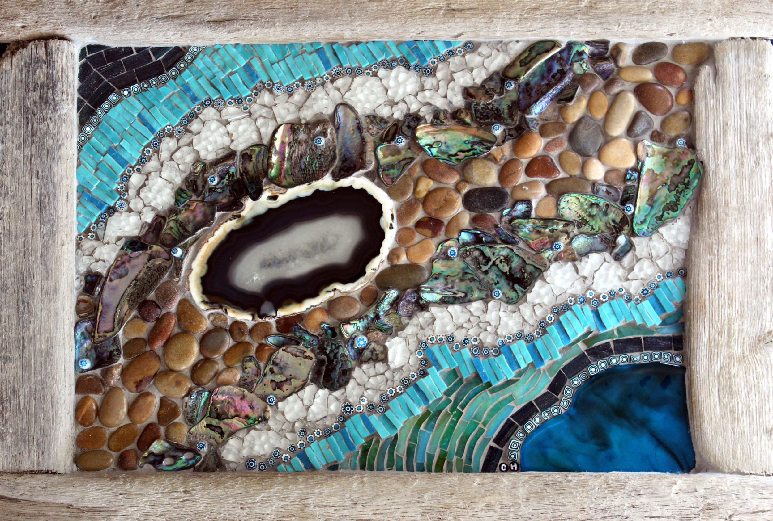 Seventenths (Paua Shell, Agate, Smalti, Stained Glass, Tempered Glass, Pebbles, Millefiori, Driftwood frame)