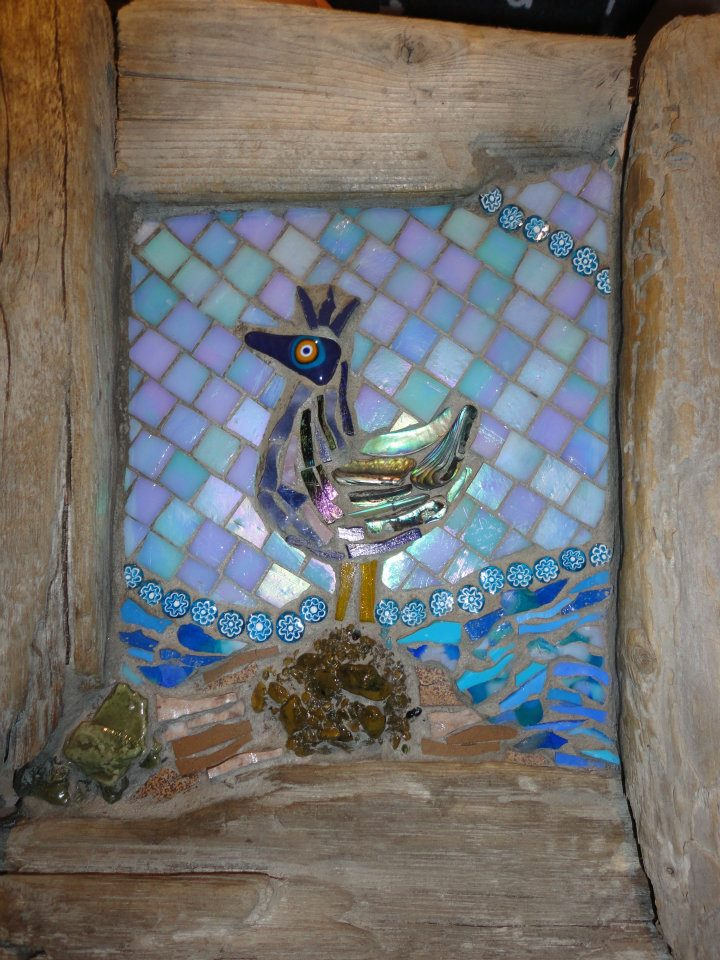Pshyco Sea Chook (Paua Shell, Glass Fusions, Smalti, Stained Glass, Millefiori, Smalti Chunks)