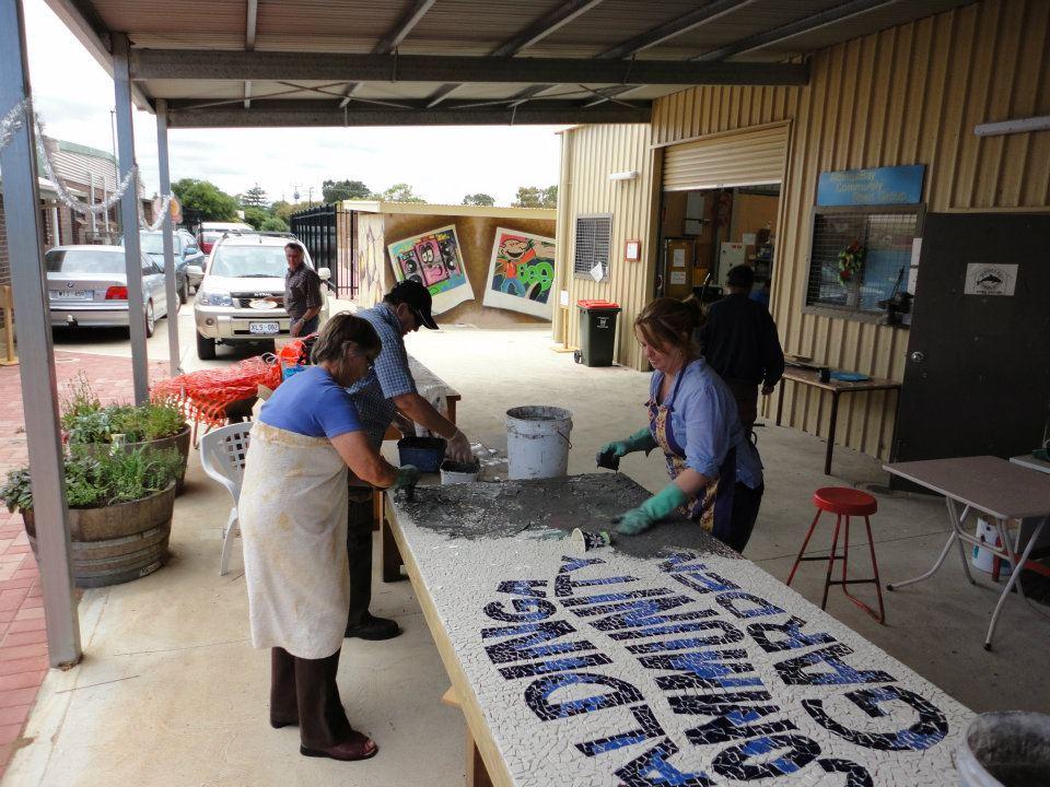 Aldinga Community Garden Mosaic (grouting day)