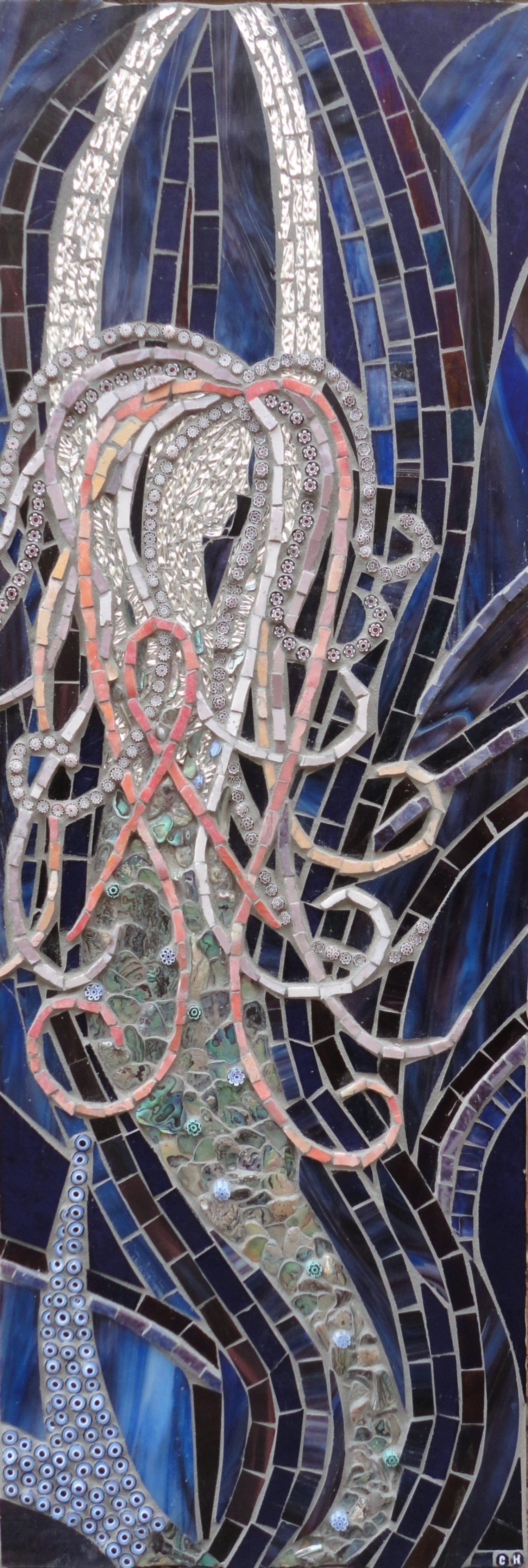 Pink Ribbon Mermaid (Smalti, Stained Glass, Mirror Glass,Paua Shell, Millefiori)