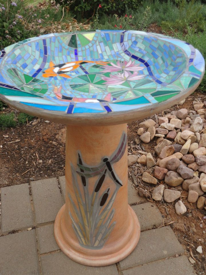 Fish/Dragonfly Birdbath (Commission) (Stained Glass)
