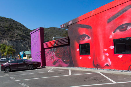 """The Hive comes alive: Newly named district in the Canyon buzzes with artistic activity    With the renaming of the Laguna Arts District at 805-856 Laguna Canyon Road to """"The Hive"""" this summer, Laguna Creative Ventures and the Honarkars are ushering in a new era, starting with the Summer of Color, featuring temporary murals by well-known artists.  Privately funded by the Honarkars, with partnerships with [seven-degrees] and Montana Colors, this unique and exquisite mural project is coming together beautifully at the location.  READ MORE..."""