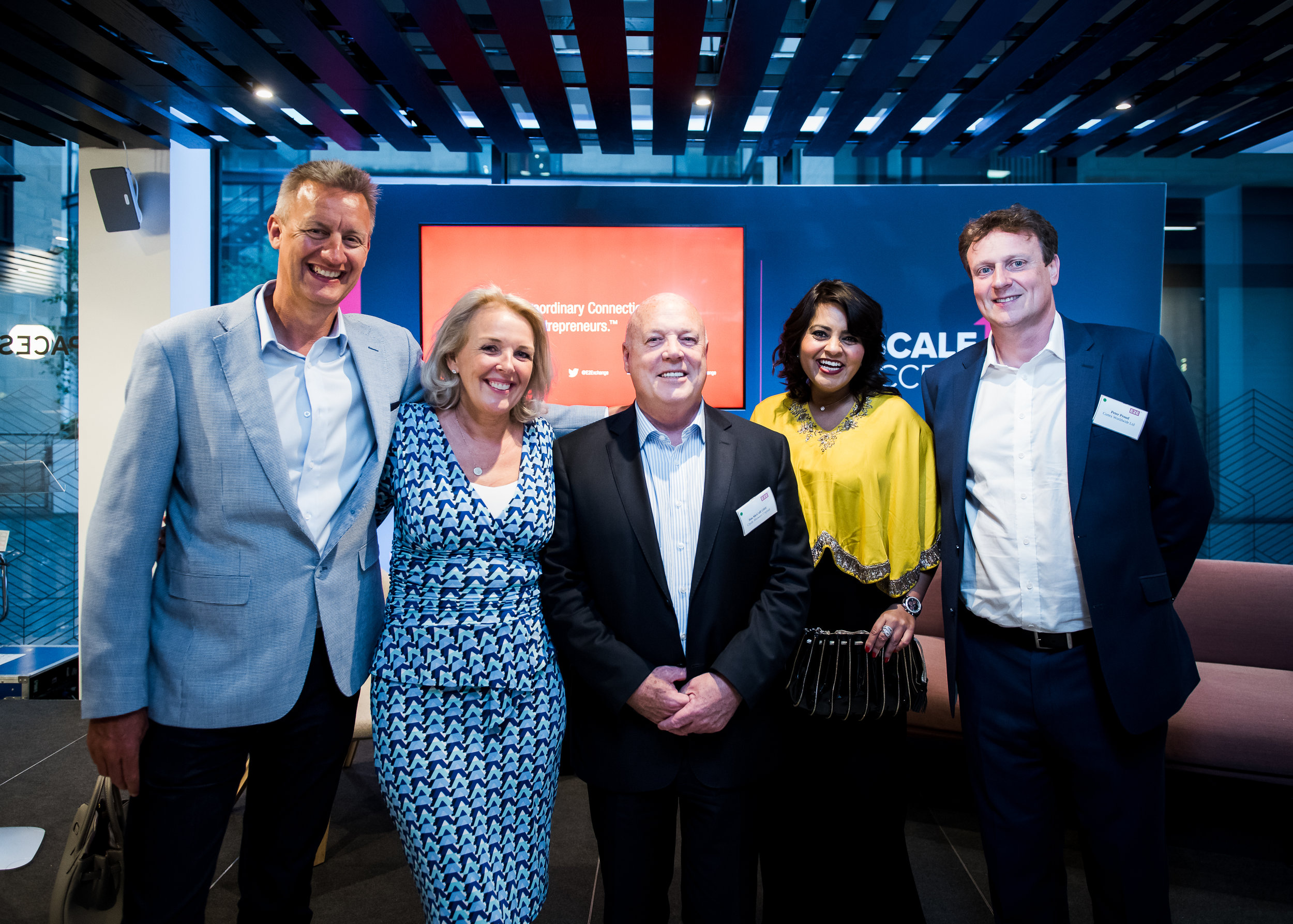 #ScaleUp2Success EDINBURGH speakers panel.  Left to right: Russell Dalgleish, Alison Cooper, Jim McColl OBE, Shalini Khemka, and Peter Proud