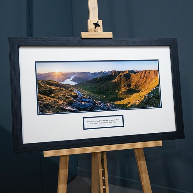 Check out this fantastic photograph by @guyrichardsonphoto which we printed and framed on behalf of the @johnmuirtrust for their retiring CEO. Framed with dedication mount using 99% clarity glass and @fsc_international certified wood. An absolutely stunning photograph that is part of @scotlandtbp picture collection.
