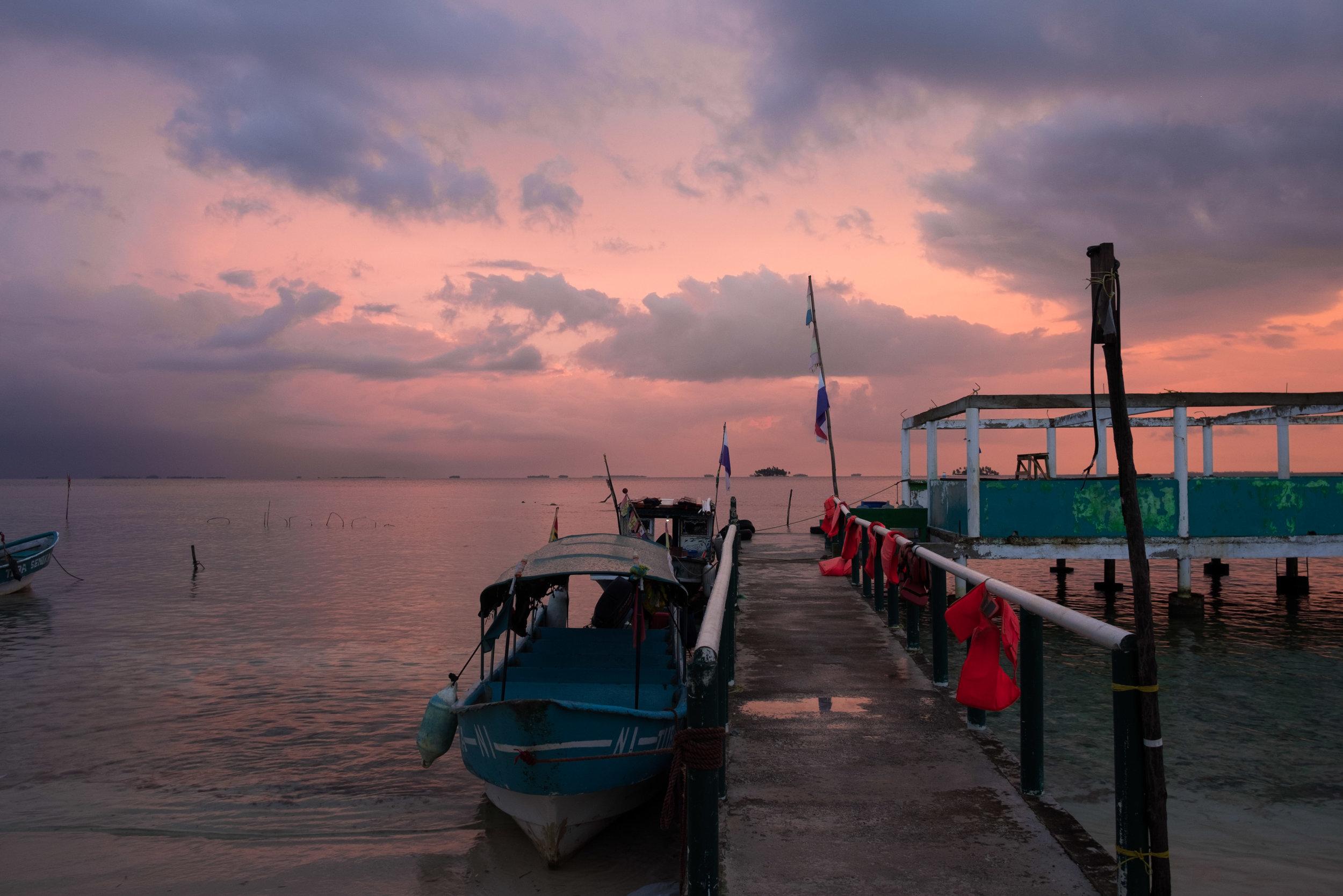 San Blas Panama sunrise boats