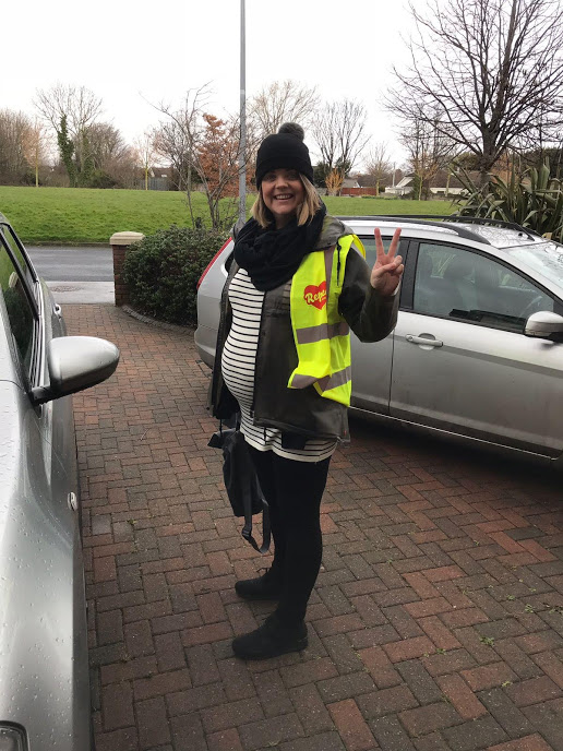 """Me, very pregnant, out canvassing for Repeal earlier this year. Yes I'm proud of myself, feminists achieved something huge this year, and I was one of them. I'm not saying that you can't change the world if you're dieting, but it sure does free up a lot of goddamn time when you stop. The Naomi Wolf quote from The Beauty Myth comes to mind: """"Dieting is the most potent political sedative in women's history; a quietly mad population is a tractable one."""""""