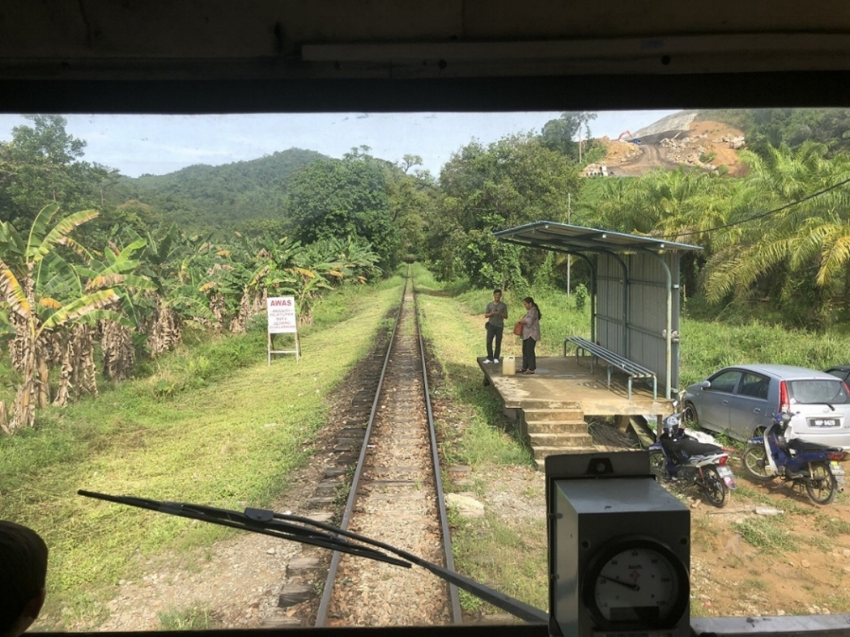 The 'new' train provided a great view of the track ahead - here, we're just about to pick up a couple of passengers at a 'request' stop