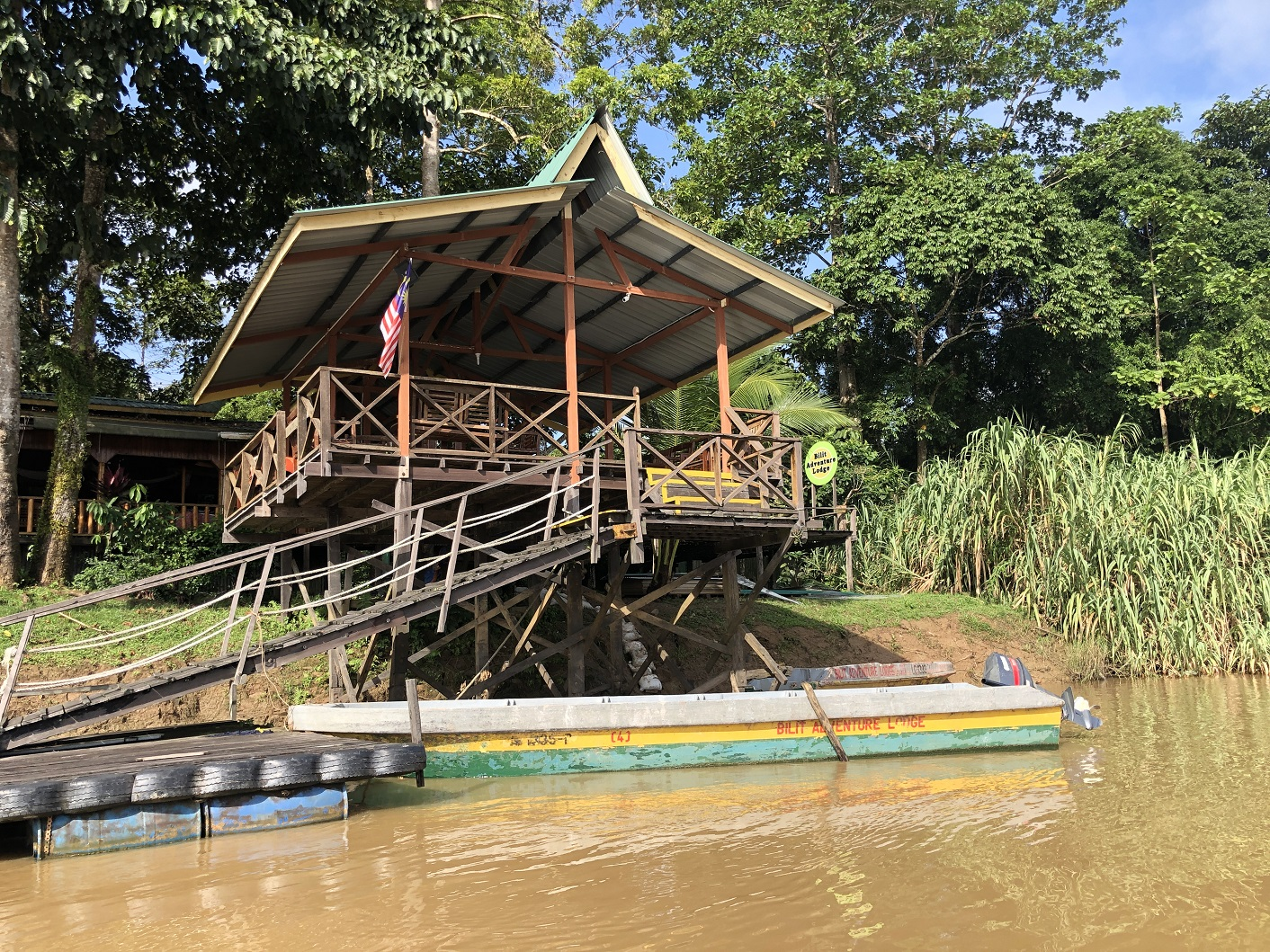 Bilit Lodge on the River Kinabatangan can only be reached by boat
