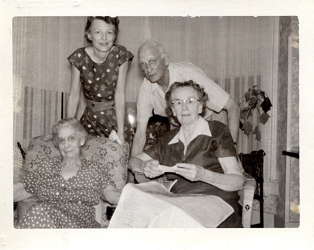 "Ellen Lowell, Sally Bono (seated right), Marion Lowell Rendell ""Nanny"" (standing), her dad, James Henry Lowell."