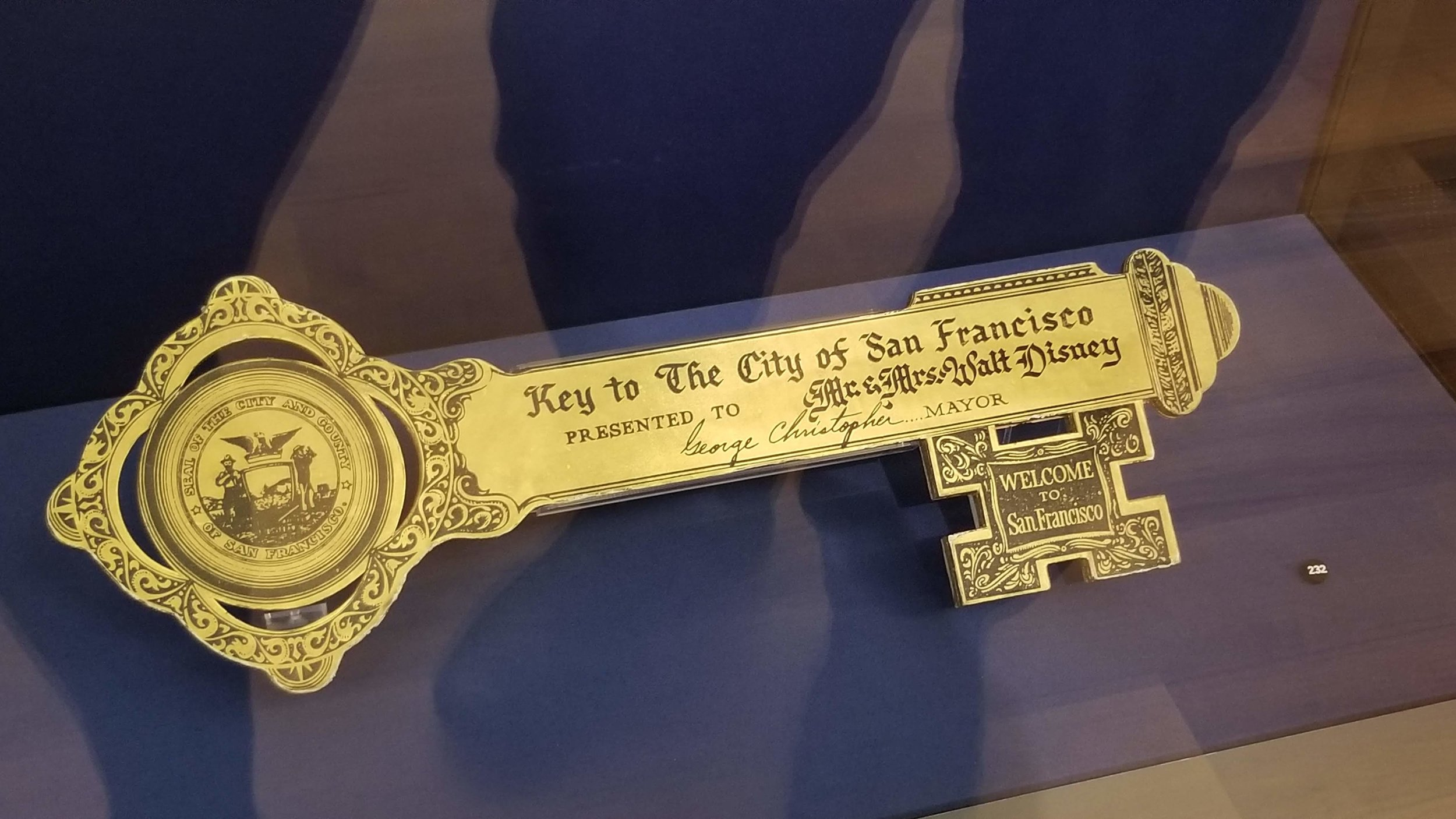 The Key to The City of San Francisco, Presented to Mr. & Mrs. Walt Disney.