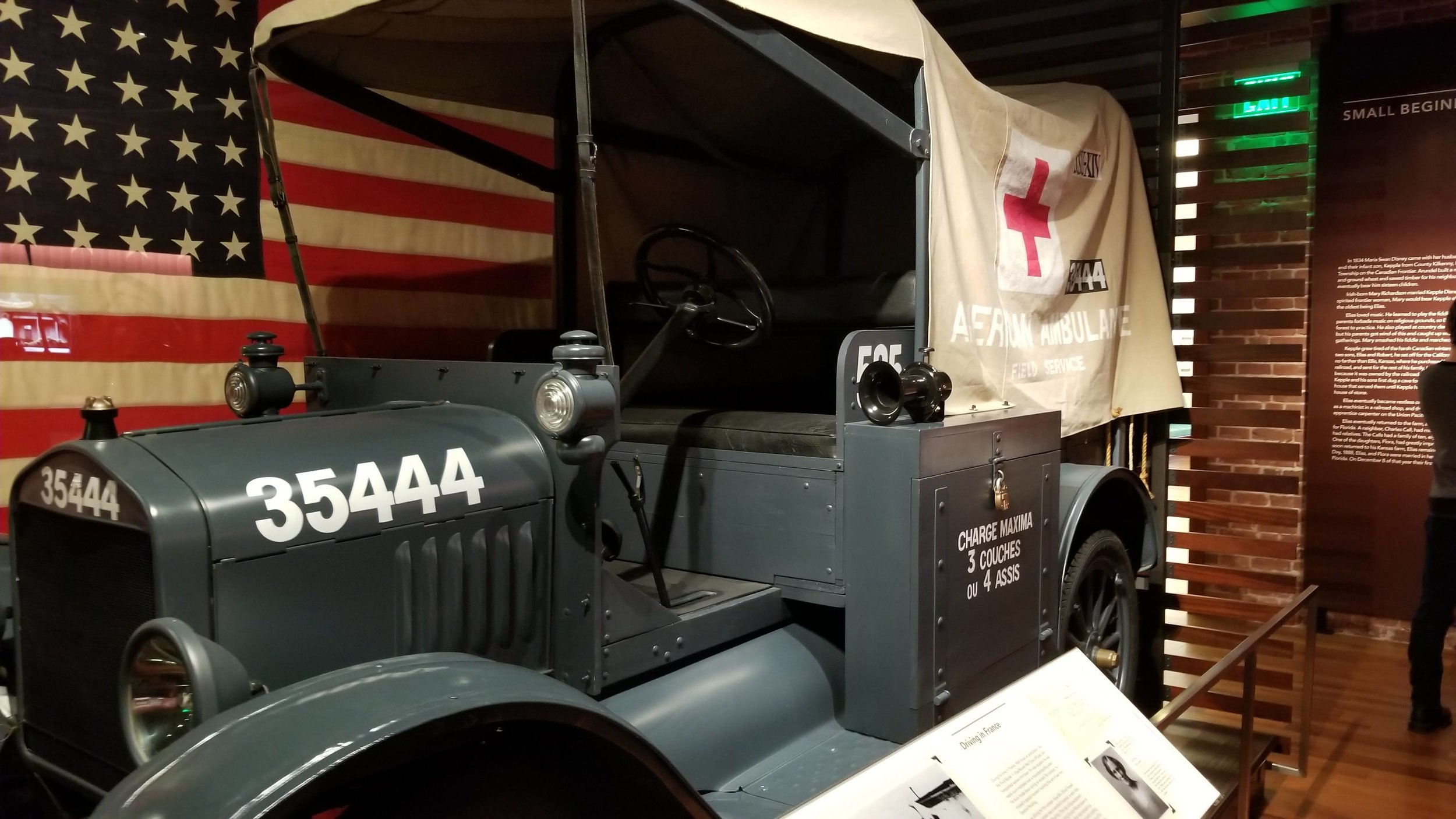 A Model T Ford Ambulance; the vehicle driven by Walt Disney while he was in the Red Cross.