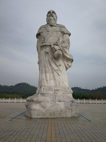 A statue of Pengzu in Pengzhou, Sichuan. He traveled on foot between here and Emei mountain to pick herbs and make medicinal wines.