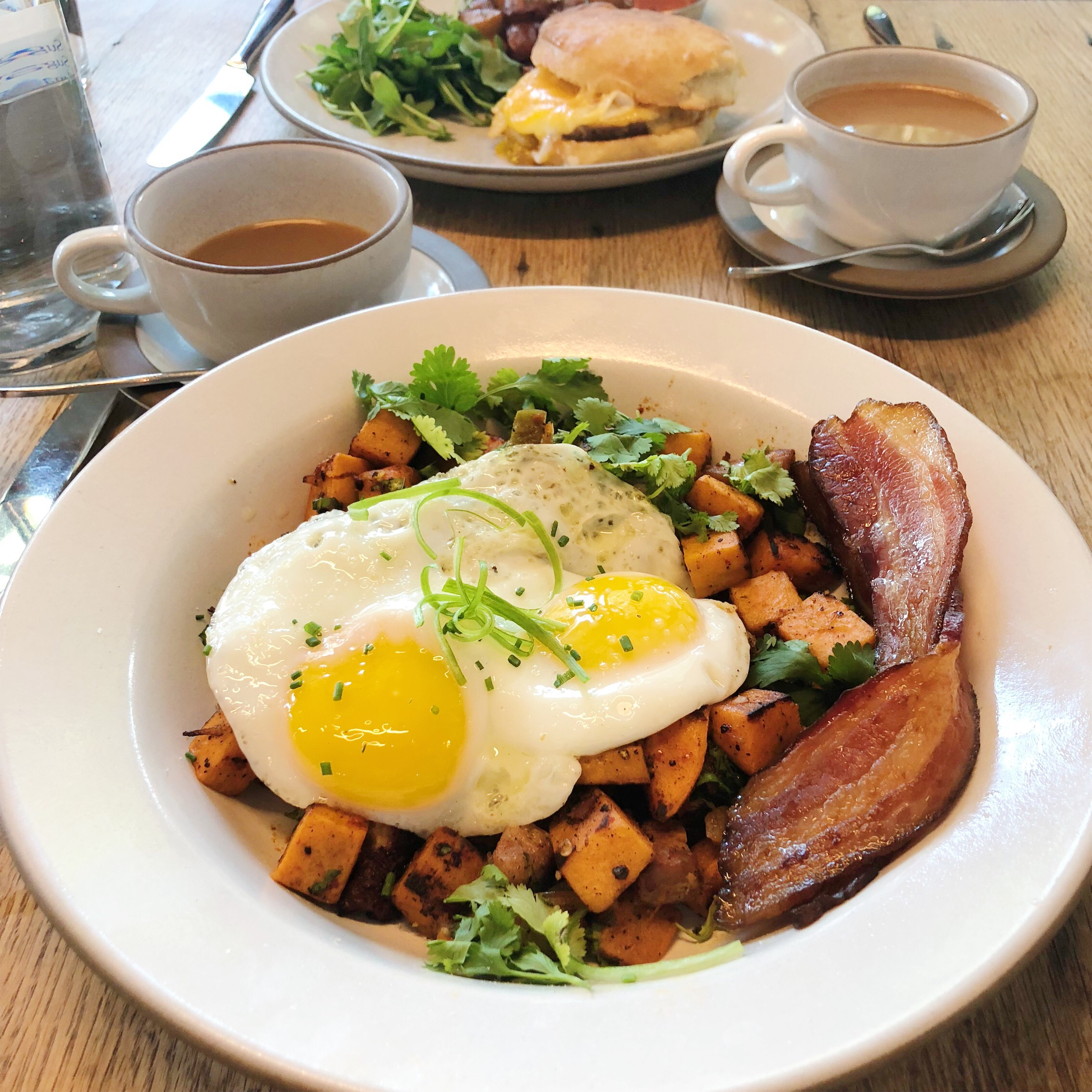 Sweet Potato Hash with Bacon at Cafe No Se