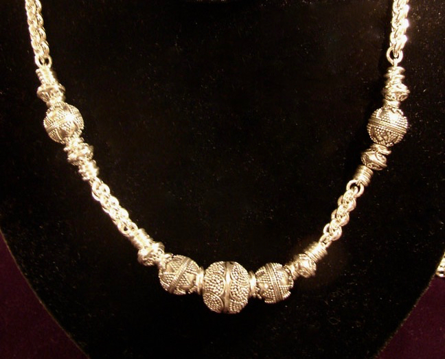 Bali Silver bead Necklace
