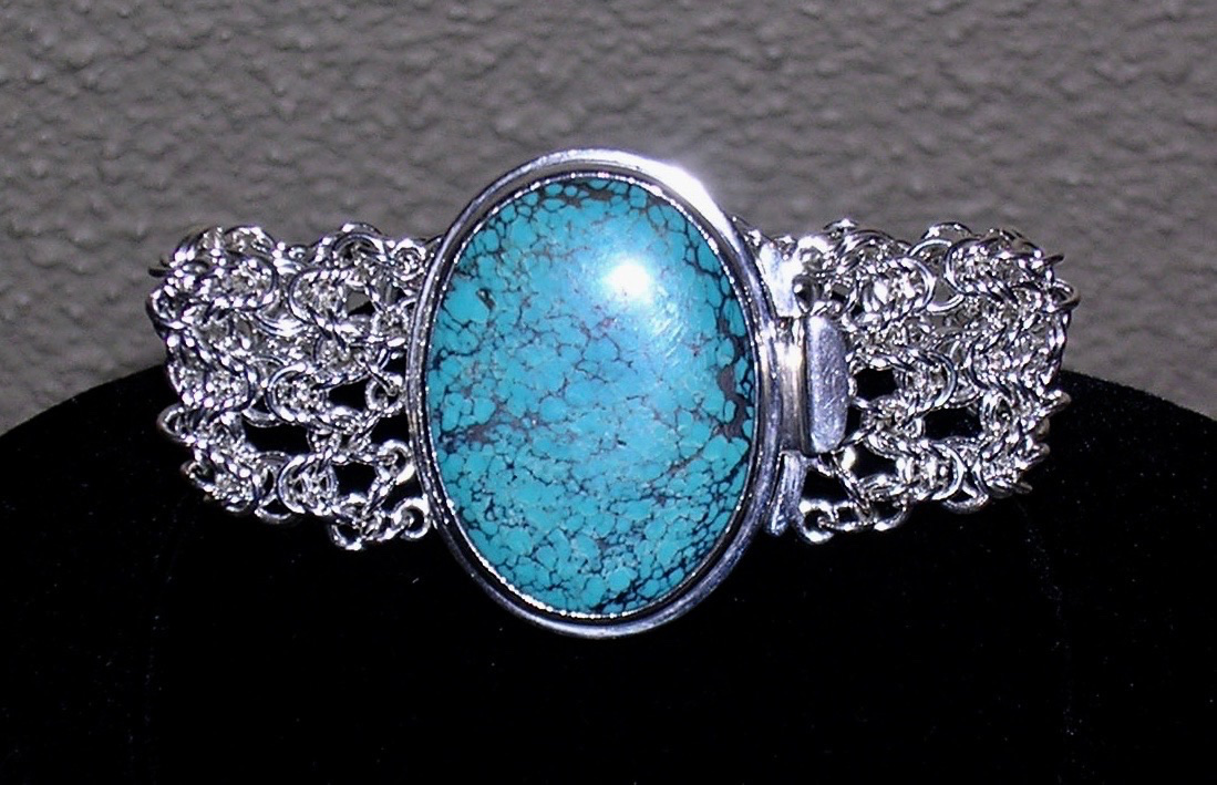 Byzantine Lace Cuff with Turquoise