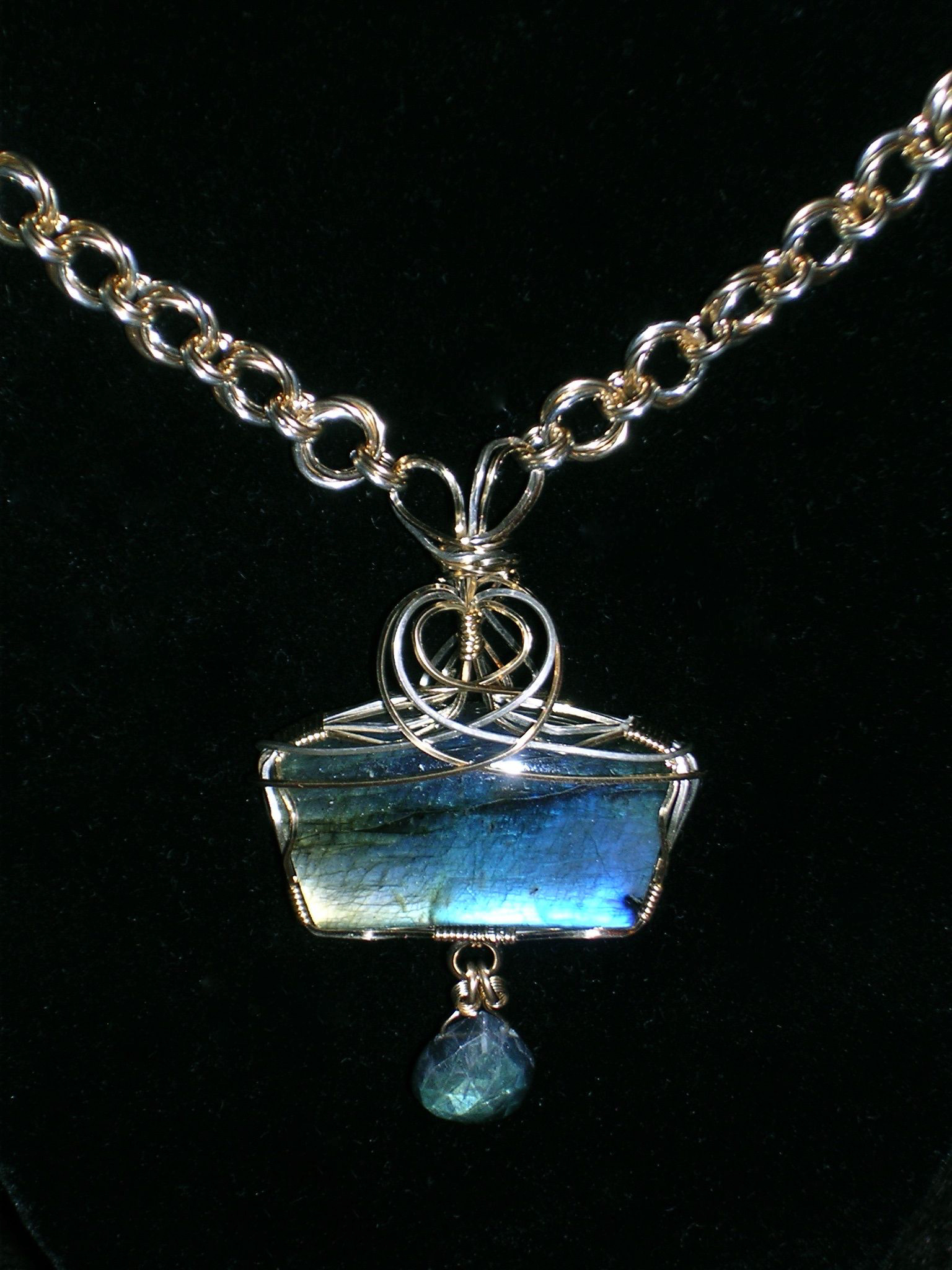 Wire Wrapped Labradorite with Mobius Chain