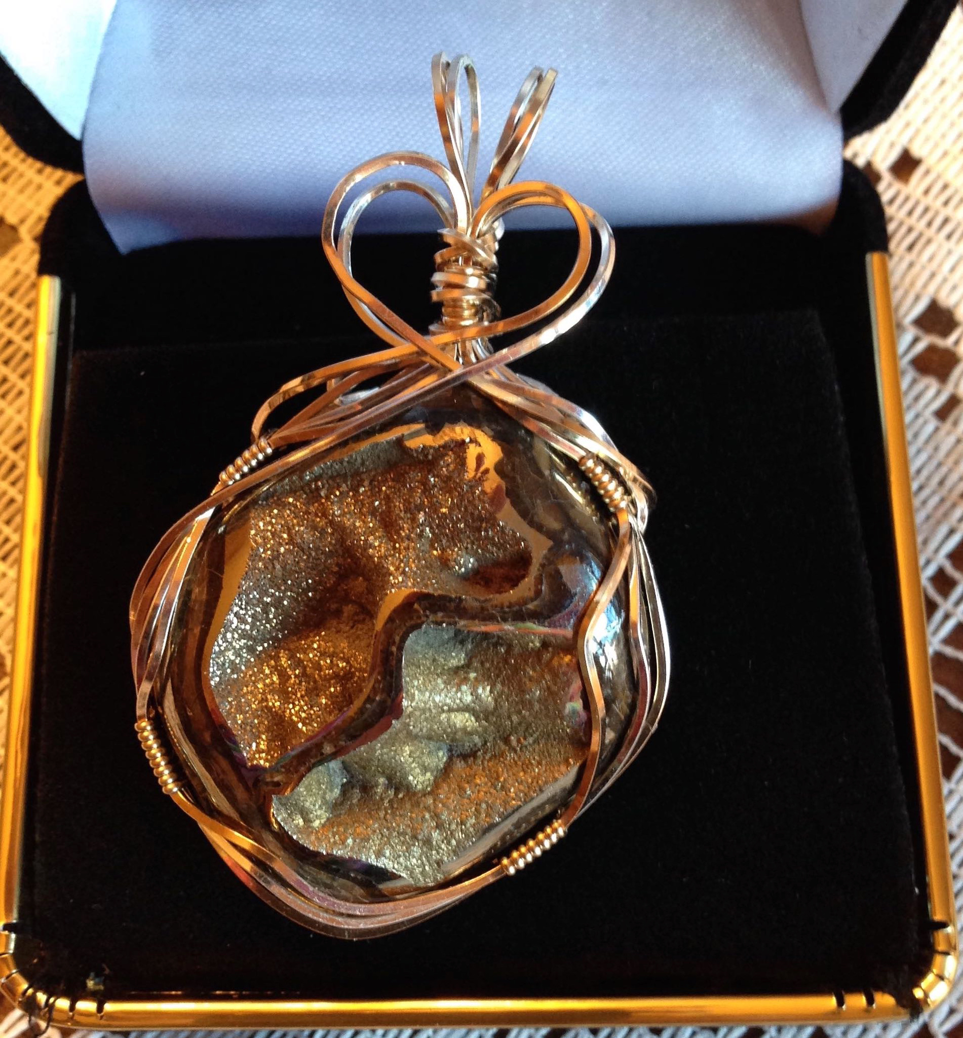 Wire Wrapped Fossil Ammonite chunk with Pyrite
