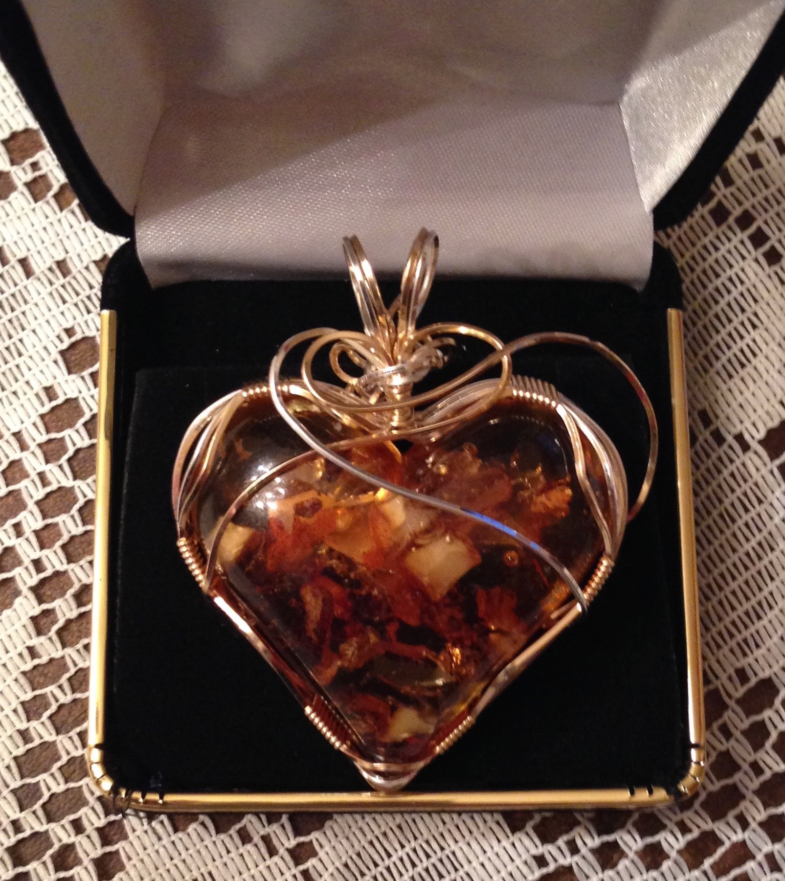 Wire wrapped Amber Heart
