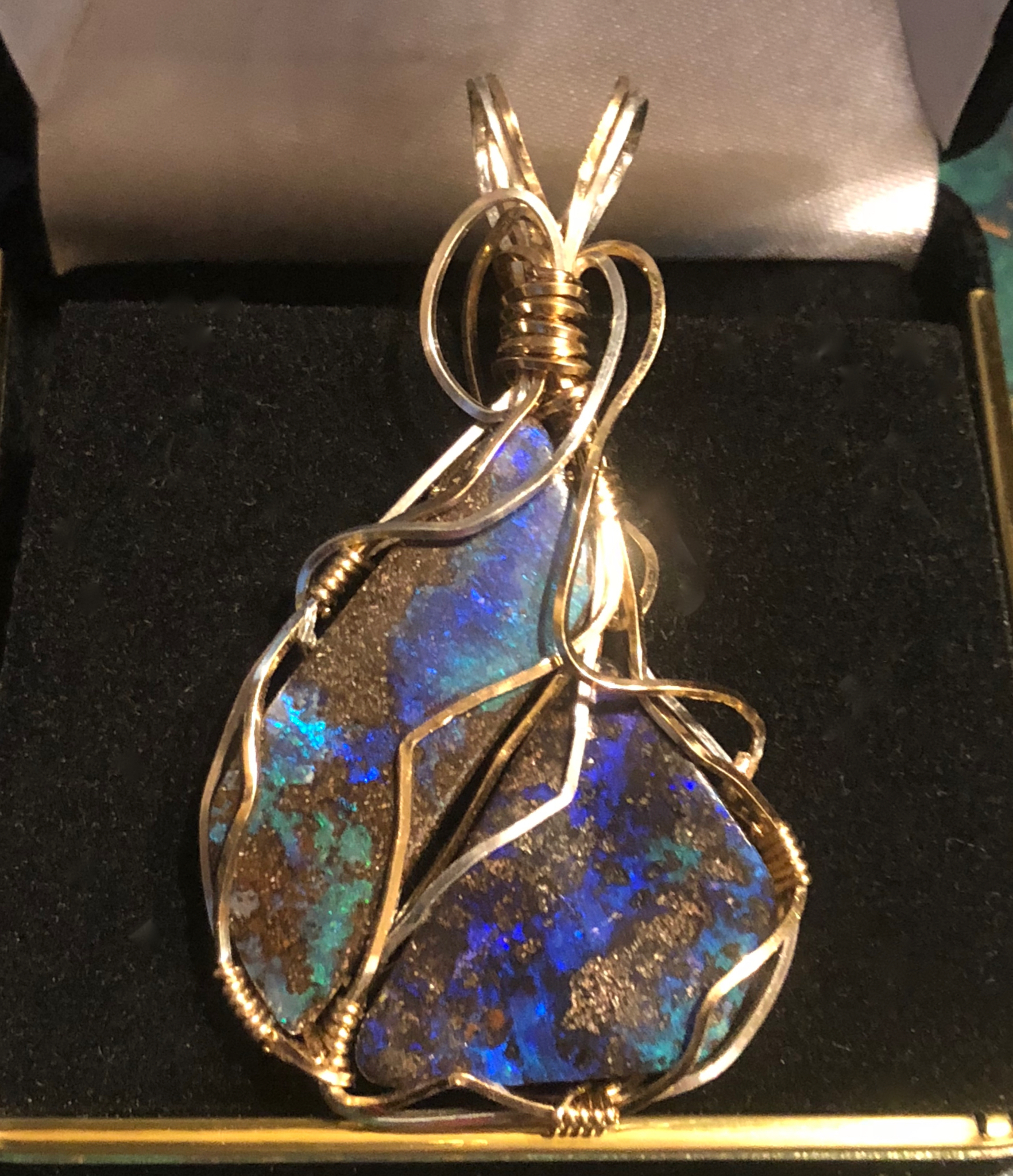 Wire wrapped Boulder Opals