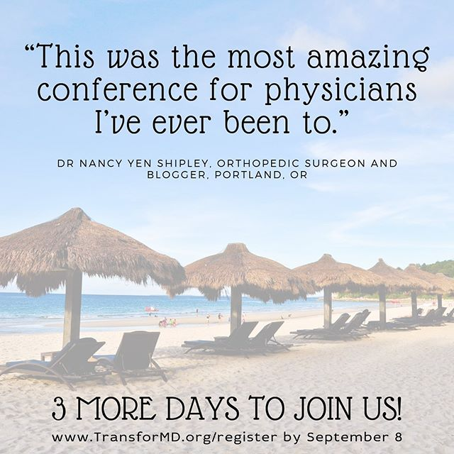 TransforMD isn't a burnout conference. It isn't a meditation retreat. It isn't a conference-room-power-point event where you learn a lot of facts and statistics. TransforMD is LIFE. CHANGING. Full stop. Dig deep and learn practical tools to get *even more* out of your academic career, your research, your private practice, your patient care, or your side gig. CREATE your ideal life. Not with power points and lit reviews, but with actionable plans set into motion even before the retreat starts. All in the company of incredible women docs who share in your struggles, your dreams, and your victories. There are just 3 days left to register. Don't spend the next year wondering 'what if?' Join us January 8-12 in Mexico. www.transformd.org ❤️ #betransformd . . . . . #shemd #womeninmedicine #somedocs #livebetter #cme #cmeconference #womenphysicians #womenempoweringwomen #retreatyourself #medicalconference