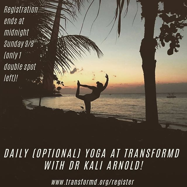 Just one last day to register for TransforMD- registration ends tonight at midnight. We are so excited that @kali_goddess_yoga will be teaching our daily yoga classes! She's an orthopedic surgeon who is now a yoga and Pilates teacher (among so many other things!). We can't wait for her to join us as an attendee and as our yoga guru!! Only 1 double spot left- grab it before it's gone!! www.transformd.org/register #betransformd . . . . . #womeninmedicine #cme #cmeconference #shemd #somedocs