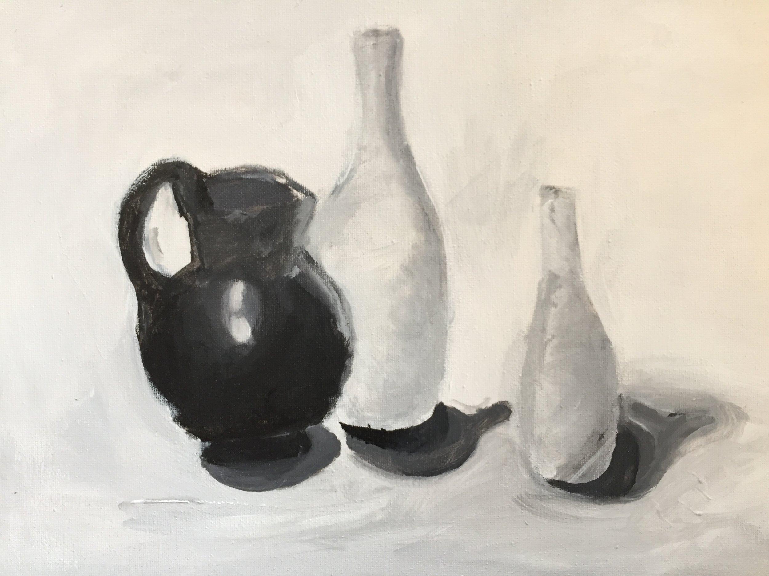 acrylic still life of vases
