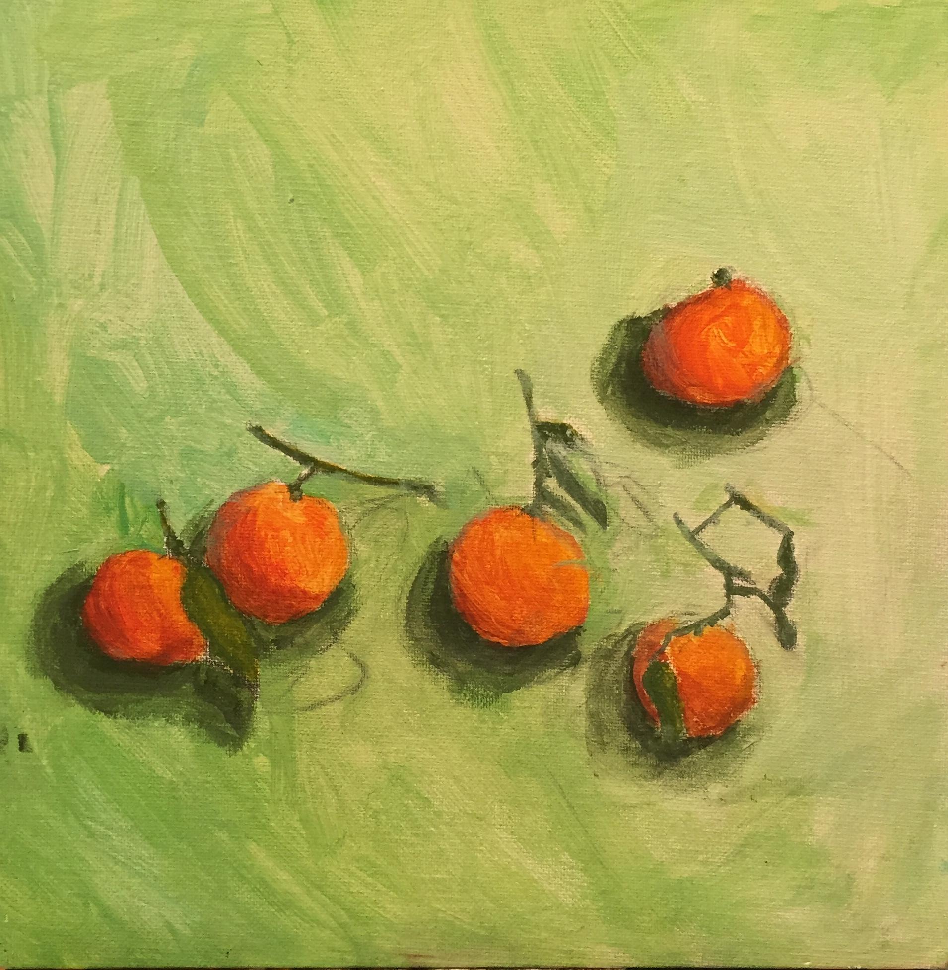 acrylic still life of oranges