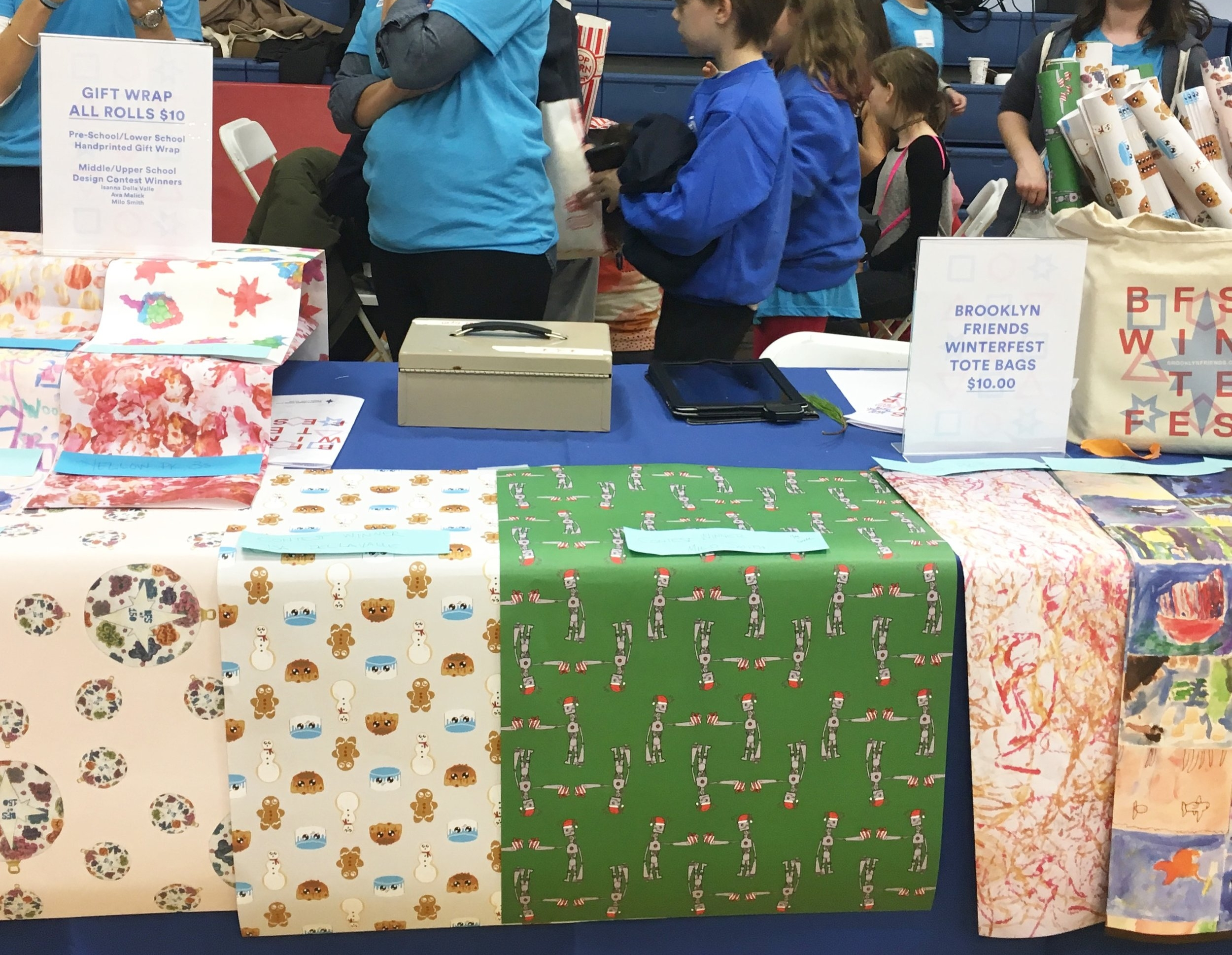 winning wrapping paper at Brooklyn Friends Winterfest