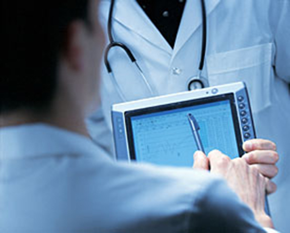 Doctor holding electronic chart