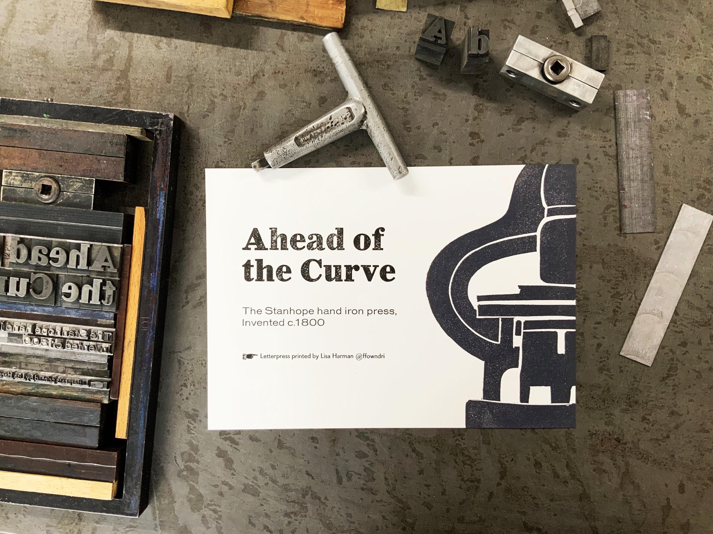 Ahead of the Curve, Letterpress & Linocut Print