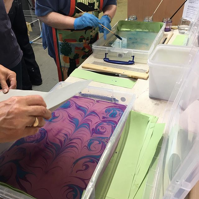 Fun day @ffowndri yesterday with our Paper Marbling workshop... so many colours used and different patterns created