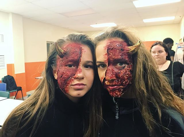 Seeing double wondering what Torment Factory has in the works  #escaperoom #makeup #gainesville #hauntedhouse