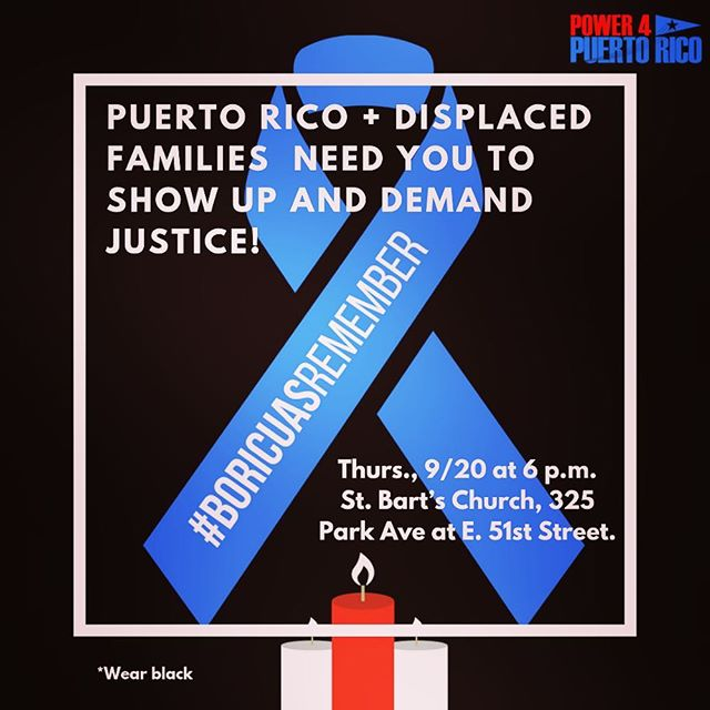 #BoricuasRemember 9/20 @stbartsnyc. Join @power4pr @latinovictoryus @vamos4pr @nydisnet. SEE LINK IN PROFILE.