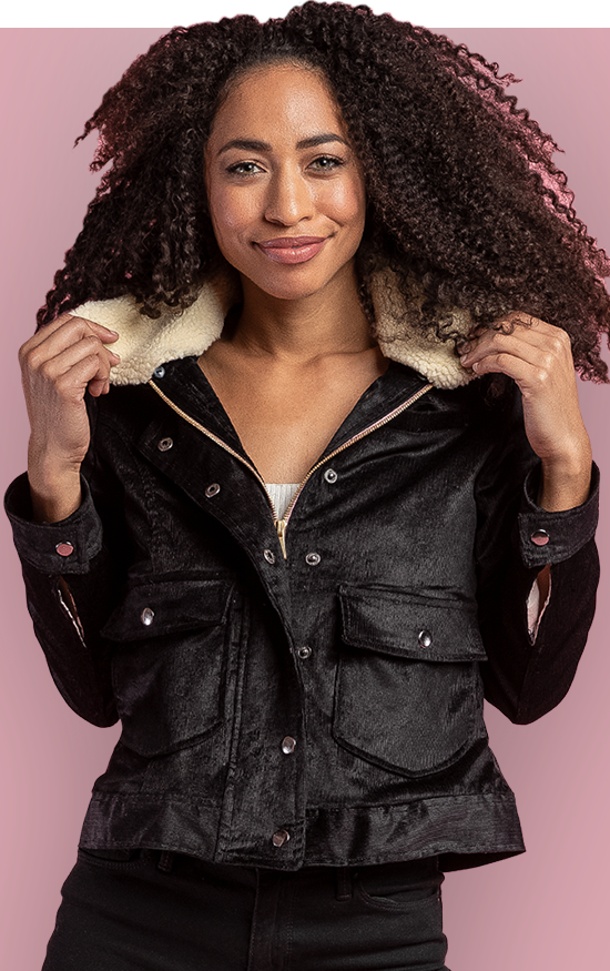EASTWIND JACKET - This trucker jacket has a soft, but structured corduroy exterior and an interchangeable faux shearling collar. You can leave your bag at home because this beauty has five pockets. It features a snap and front zip closure. Open her up for a fun surprise, a heavenly soft zebra print cupro lining.