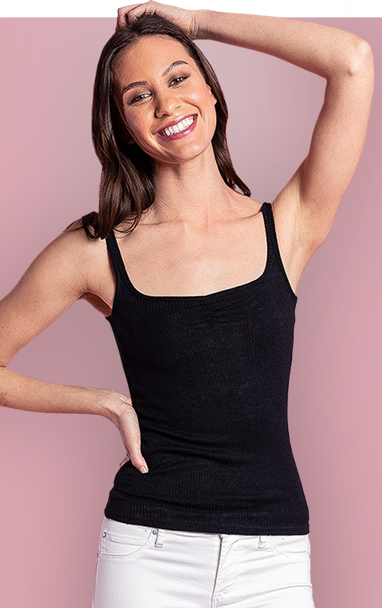 BELLA TOP - The Bella is a soft rib tank top that features a dainty front gather to accentuate any neckline. This little number is slim-fit, hip length, with spaghetti straps, and a sweetheart. A ribbed modal fabric was selected with a luxurious hand feel in mind. Tuck her in or out. The Bella is versatile styling piece you can pair with any bottom.
