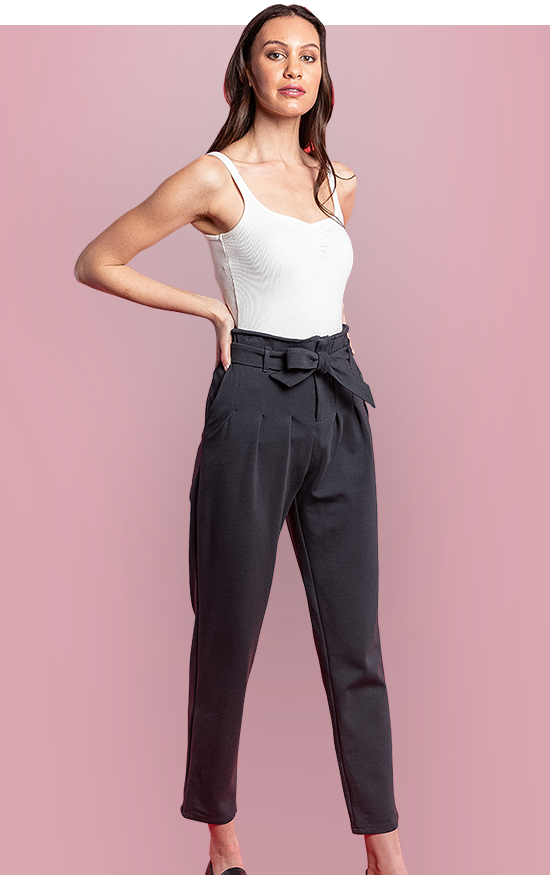 RIALTO PANT - Get a leg up on your day with the comfiest high-waisted trousers around. These are *that* pair of pants which are so comfy you leave them out on your chair for easy access the next day. These pants have deep pockets at the side, with light pleating at the front, and a relaxed fit through the waist down to the slightly tapered ankle. Featuring a self tie belt, front zip, and hook and eye closure at the paperbag waist.