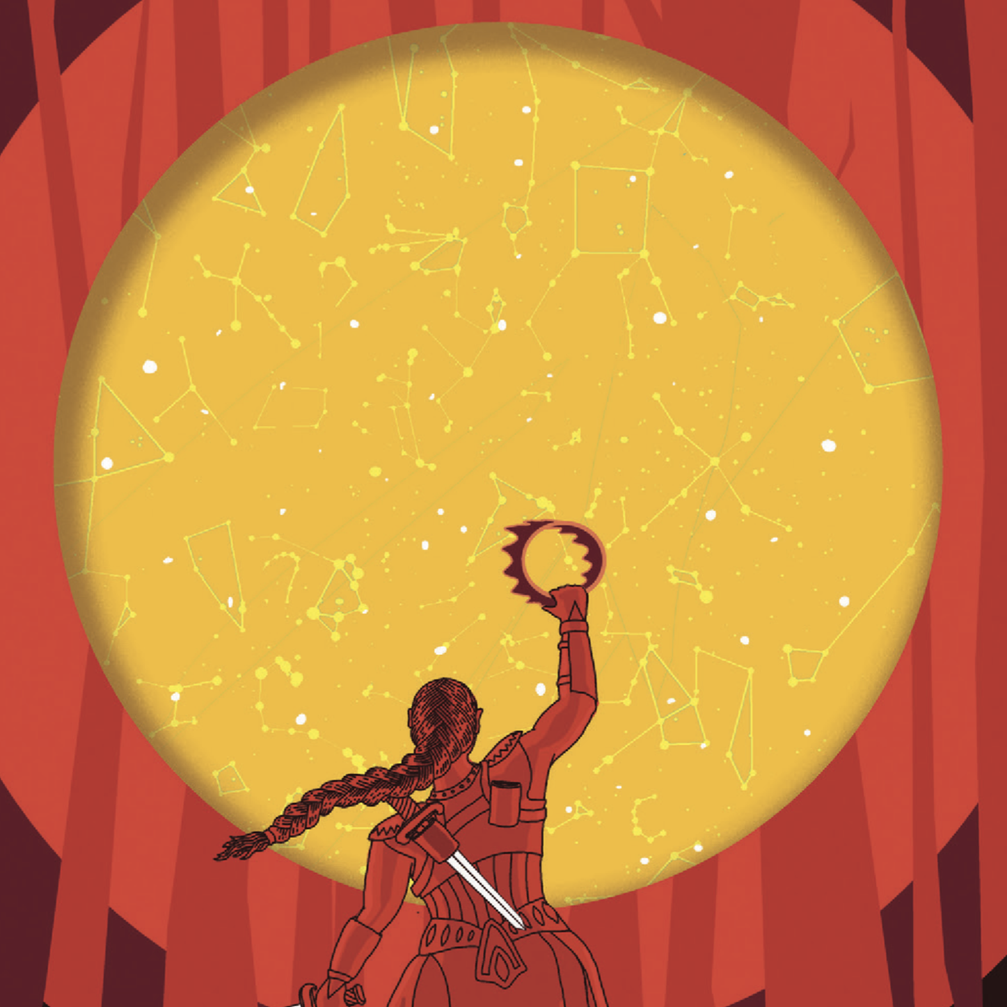 A swordswoman with a long braid raises a crown in front of a star map.
