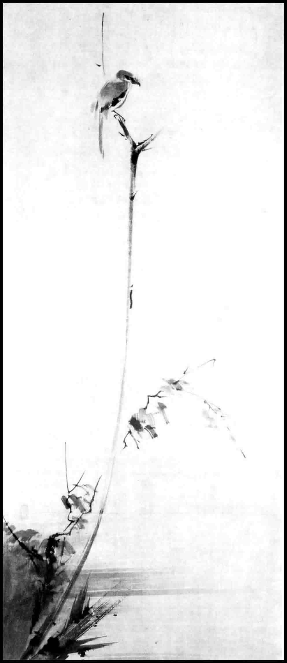 Shrike on a Withered Branch,  ink painting by Niten (Miyamoto Musashi)