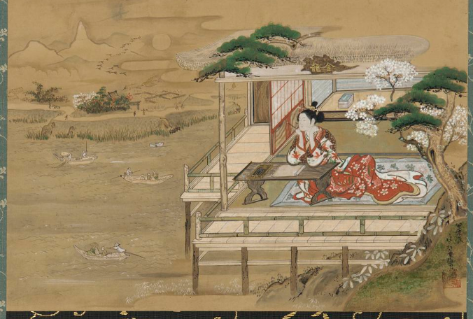 On the right, Lady Murasaki composes the  Tale of Genji  at Stony Mountain Temple, kneeling at a writing desk in a red robe and looking out over the veranda past some trees. On the left, boatmen cross a river, with fields and plant life in the background.