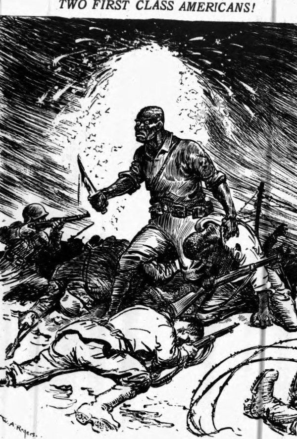 A Black, uh … orc? soldier? with a bloody knife and a baleful stare fights off German troops in a black-and-white  New York Herald  illustration of his acts of gallantry and/or savagery in World War I. Looking at this photo, I would not surmise that it comes from a complimentary article.
