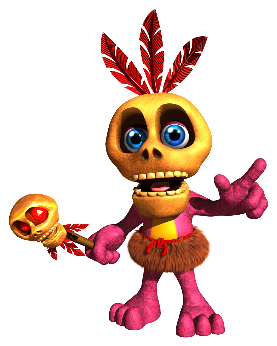The friendly witch doctor  sigh  Mumbo Jumbo from the  Banjo-Kazooie  video games. I hate this guy.