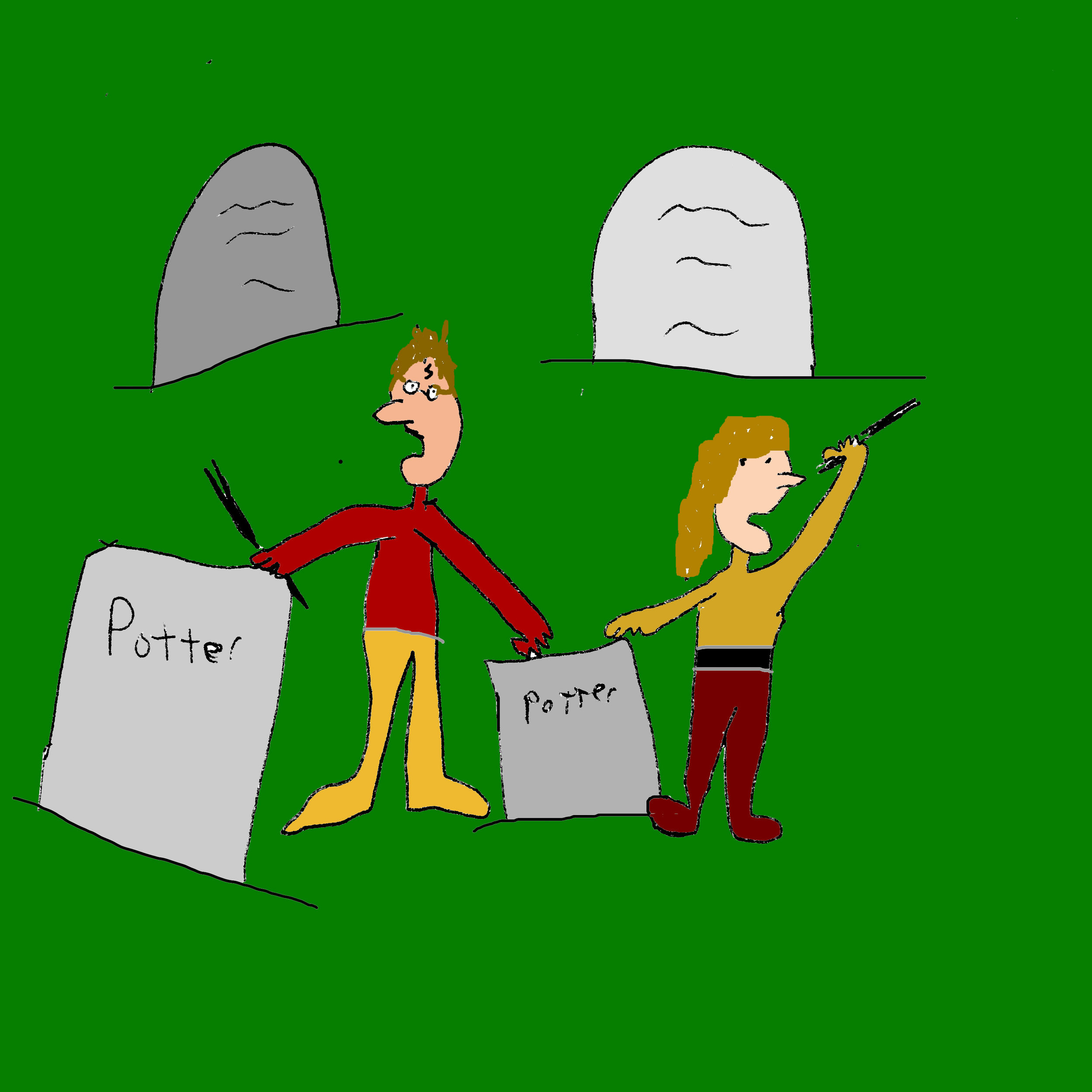 Harry and Hermione looking through the cemetery
