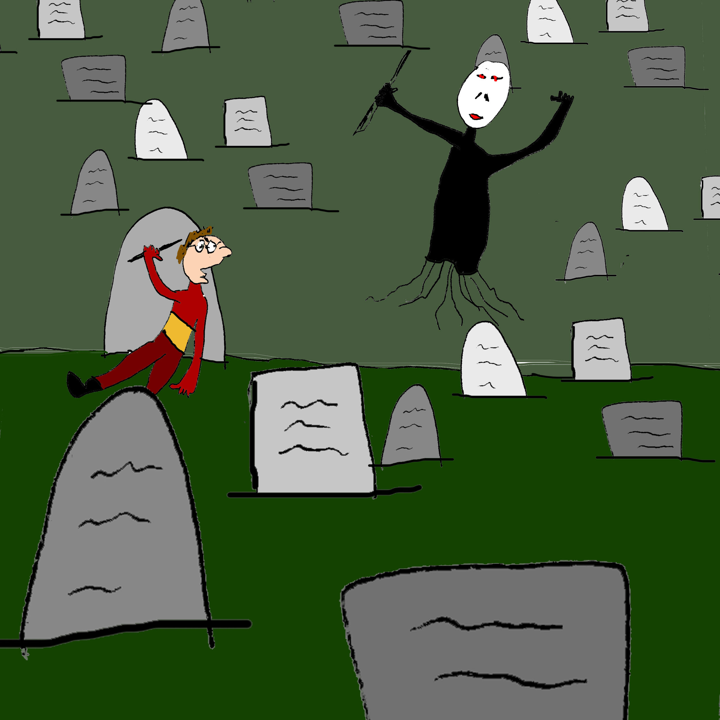 Harry and Voldemort fight in the graveyard